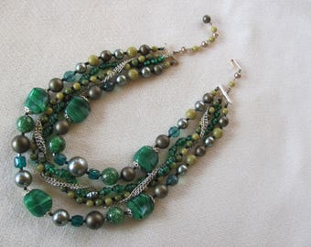 Vintage multi-strand Green Necklace, Japan