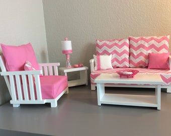 Doll - 5-piece set: Couch, Chair, Coffee Table, End Table, Lamp – American Girl-friendly