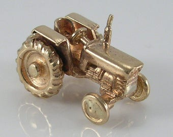 Vintage 3D 9ct Gold Movable Tractor Charm H/MK 1969