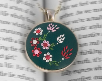 Dark green necklace, colorful necklace, pink green necklace, Flower Necklace, Green floral Necklace, polymer clay, hand embroidered necklace
