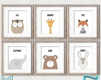 Woodland animals prints,nursery 6 set printable,animals nursery art,baby room wall decor,elephant print,giraffe print,fox print,bear print