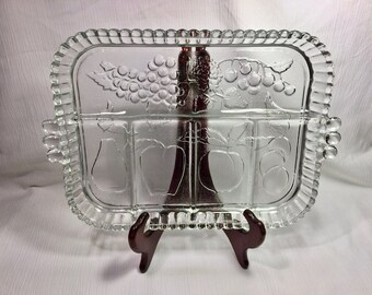 Vintage Clear Indiana Glass 5 Part Relish Veggie Tray Raised Fruit Pattern