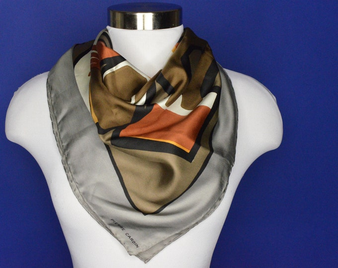 Vintage Estate AUTHENTIC 50s Pierre Cardin Nomadic Tribal Print Brown White Grey Black Rust Silk Ascot Tie Scarf Shawl