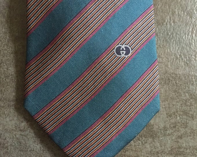 Vintage Estate AUTHENTIC Gucci Accessory Collection Firenze Brown Blue Purple Slanted Stripe Print Tie New Dead Stock