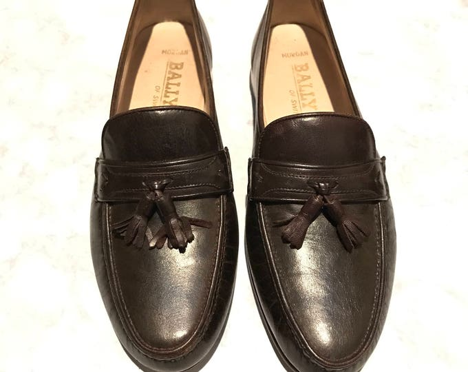 Bally of Switzerland Vintage Estate Morgan Tassel Brown Leather Loafer Size 9M