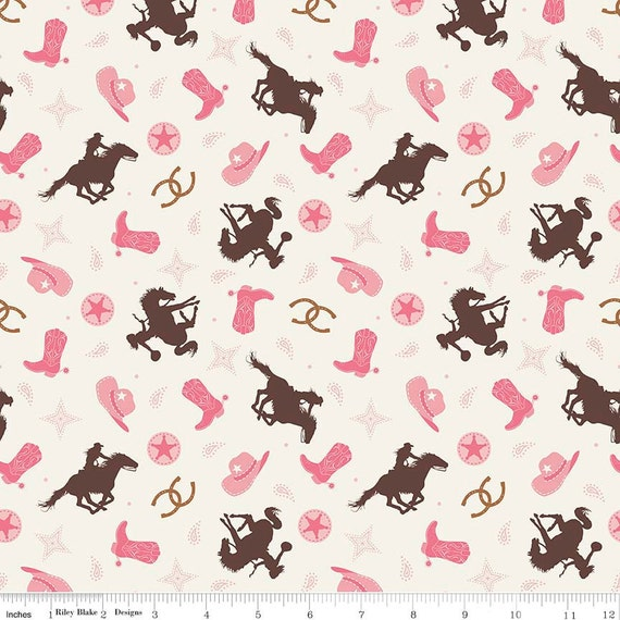 Cowgirl Toss Cream Cotton By Riley Blake Fabric Western