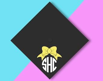 GRADUATION CAP Bow Preppy monogram vinyl decal   happy graduation cap Class of 2017 grad Prep HS college graduate Custom Graduation Grad
