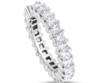 3.00 CT Natural Princess Cut Diamond Eternity Band in Solid 14k White Gold