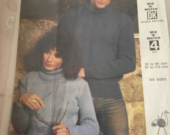 Emu double knitting ladies and mens turtle neck jumper pattern
