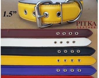 Dog Collars for Big Dogs - Designer Leather Dog Collar XL - Yellow Dog Collars - Purple Dog Collar - Black Leather Dog Collar - made in USA
