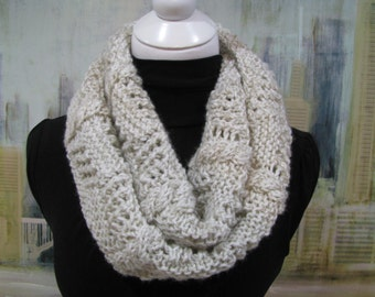 Hand Knitted Circular Scarf 100% Acrylic Yarn, winter scarf, hand knit accessories, cream women's scarf