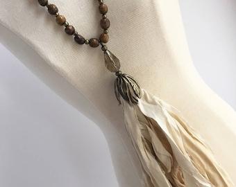 Ivory Sari Silk Tassel Necklace, Silk Tassel Necklace, Long Boho Necklace, Wood Bead Necklace, Long Necklace