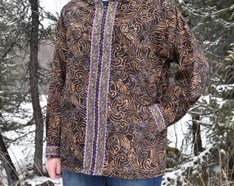 Qaspeq- Women's Large Black and Purple Jacket Style