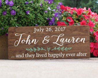 Rustic And They Lived Happily Ever After Stained Wood Sign / Rustic Wedding Date Sign with Names