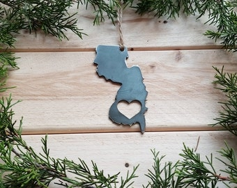 Love New Jersey State Steel Ornament Rustic NJ Metal State Heart Host Gift Keepsake Travel Wedding Favor By BE Creations