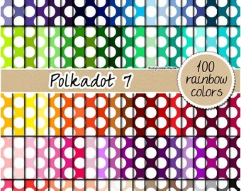 SALE 100 polka dot digital paper digital rainbow papers digital scrapbooking kit pattern pack 12x12 pastel neutral bright dark Instant downl