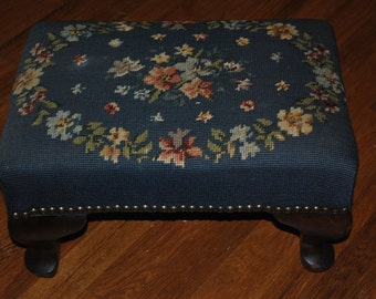 SPECIAL HOLIDAY SALE- Was 125.00-Vintage - Foot Stool - Needlepoint - Floral - Flowers - Green - 1940's - Stool