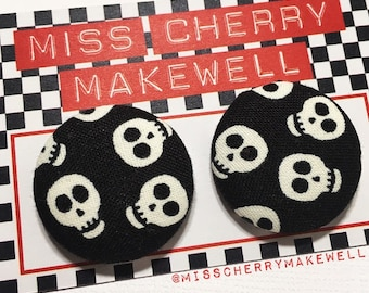 Glow in the Dark Skull Skulls Fabric Button Rockabilly 1950's Pin Up Vintage Punk Inspired Stud Earrings By Miss Cherry Makewell