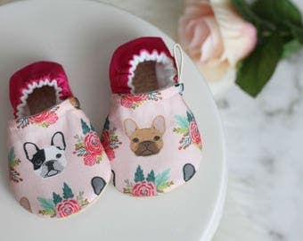 Dog Baby Shoe, Boston Baby Shoes, Baby Shoe, Dog Booties, Boston Terrier, Boston Terrier Shoes, Baby Booties, Baby Girl Shoes, Pink Booties