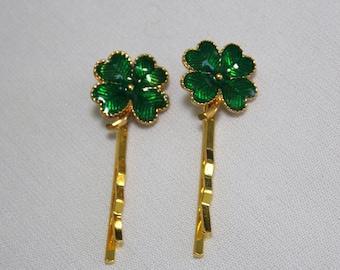 Green Enamel Shamrock Hair Pins Bobby Pins for St. Patrick's Day