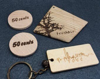 500 Personalized Tag, Wood tag, Engraved tag, Knitting Tag, Laser Tag, Solid wood Tag