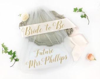 Bachelorette Veil and Sash- sash and veil- Future Mrs Veil - Personalized Veil- Bride to Be Sash- Bachelorette Veil- Bridal Shower Veil Sash