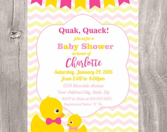 Baby Shower Printable Invitation, Pink and Yellow Little Duck and Mom Baby Shower Girl Invite, Duck Baby Shower Girl Printable Invitation