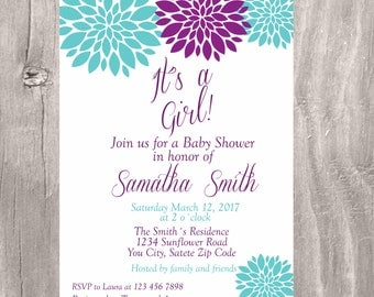 Baby Shower Invitation, Turquoise and Purple Floral Baby Shower Printable Invite, Purple and Aque Flowers Baby Shower Girl Invitation