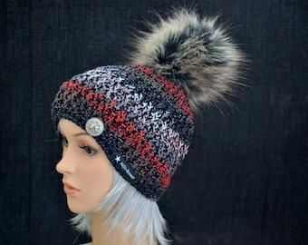 Beautiful art fur Pompom Hat
