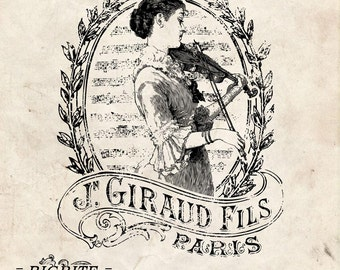 Water Slide Furniture Decal French PRINT TRANSFER of VINTAGE Girl with violin  Label graphic #011