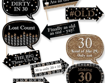 Funny Adult 30th Birthday Photo Booth Props - Gold Photobooth Prop Kit - Thirtieth Birthday Party Prop Kit - 10 Photo Props & Dowels
