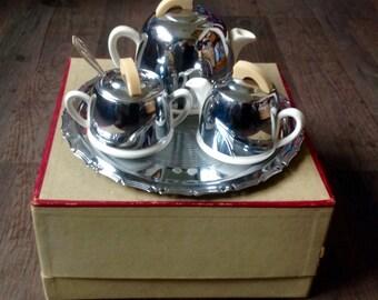 Celtic Quality Art Deco Tea Set-In Original Box. 1930's. Chrome Insulated Tea Set.