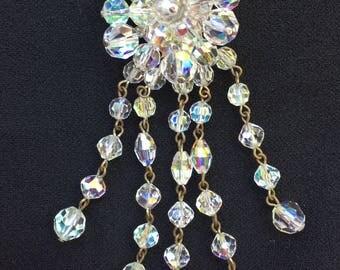 Vintage aurora borealis brooch or necklace pendant. 1950's jewelery