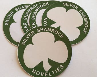 "x5 Halloween Three Silver Shamrock Novelties 2"" Inch Round Stickers"