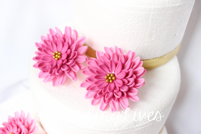 Daisy wedding cake flowers 6pcs fuschia pink fondant flowers edible ...