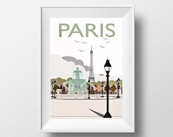 Paris Art Print - Eiffel Tower and Pont Alexandre III Illustration Travel Poster Retro Design