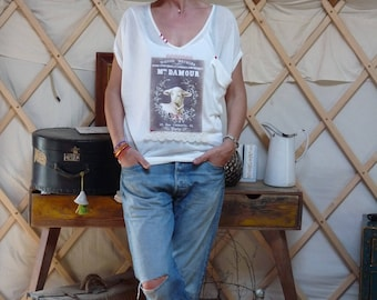T ee shirt White Ms. dAmour