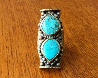 Double Turquoise Saddle Ring ~ Bohemian Jewelry ~ Tibetan Double Turquoise Ring ~ Turquoise Jewelry