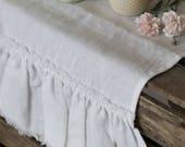 Table runner, white table runner, soft linen table runner, fringes table runner, flax linen table cloth, stone washed ruffled table runner