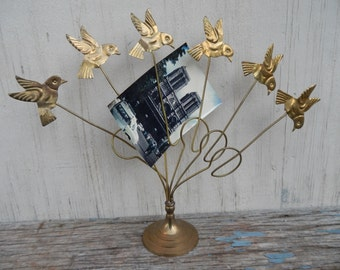 Charming Brass Bird Photo holder!
