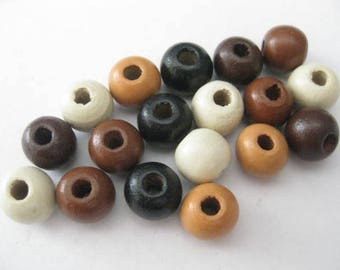 Jewelry Supplies ~ Wooden Beads  Orange   19pcs    10mm   Brown shades