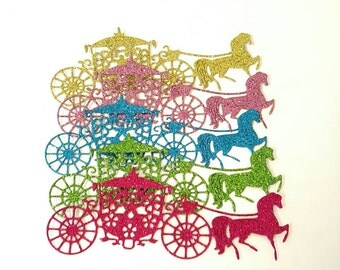 Glitter horse and carriage die cut