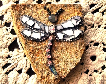 Mosaic Stained Glass Rock Stone Dragonfly Garden Art Paperweight Handcrafted OOAK Gift