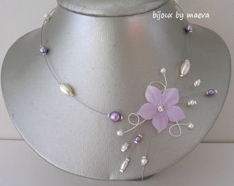 Jewelry Wedding Flower Necklace and Lilac / Parma and Ivory Color Beads