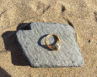 Size R Fancy Jasper Gemstone wire wrapped ring