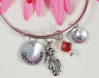 Golf Golfer Gifts for Golfers Golf Gifts Golf Jewelry Ladies Golf Gift for Girl Golfer Jewelry Expandable Bracelet Custom Hand Stamped