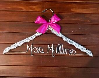 Lace hanger. Wedding hanger. Bridal Hanger. Vintage Bridal Hanger. Lace wedding dress hanger. Bridal shower Gift. Engagement gift. Accessory