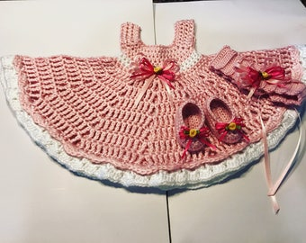 Crocheted newborn dress