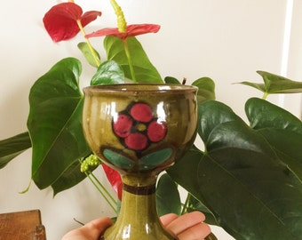 ceramic goblet with flowers painted on/green pottery goblet/ wine goblets/wine glass