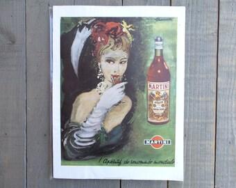 MARTINI Antique French advertising Illustration print.  Vintage Fashion advertising. Print Decor.